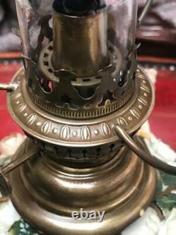 Antique Victorian Sitzendorf (German) Porcelain Cherubs Oil Lamp 7009