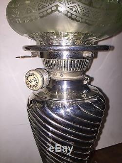 Antique Victorian Solid Silver Oil Lamp With Original Green Etched Shade