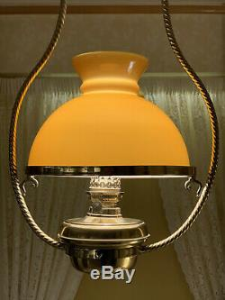 Antique Victorian Style oil lamp (electric) Brass/Glass by Christopher Wray