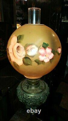 Antique Victorian Tall Parlor Oil Lamp Brass and Copper Hand Painted Shade