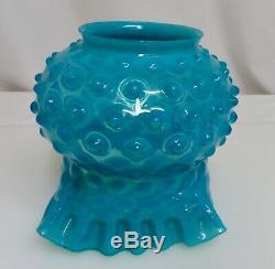 Antique Victorian Turquoise Blue Hobnail Glass Kerosene Oil Lamp Shade 80688