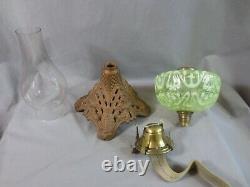 Antique Victorian Vaseline Glass Oil Lamp And Chimney Shepards Hut Farmhouse