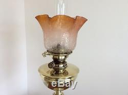 Antique Victorian duplex brass oil lamp with Amber tulip shade