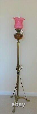 Antique Victorian floor standing brass oil lamp