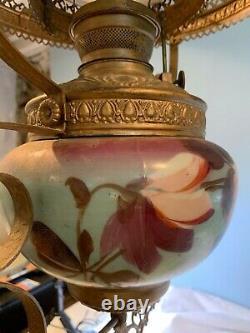 Antique Vintage Duplex Hand painted Oil Lamp Chandelier c 512