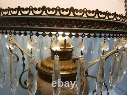 Antique Vtg GWTW Victorian Electrified Hanging Oil Parlor Library Lamp