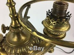 Antique Wild and Wessel Brass Oil Lamp Harvard Student Lamp with Green Shade