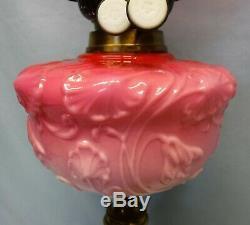 Antique Wright & Butler Duplex Burner Veritas Oil Lamp Pink Original Shade
