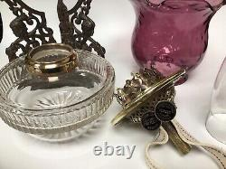 Antique Wright & Butler Duplex Oil Lamp Drop In Font Ornate Neo Classical Base