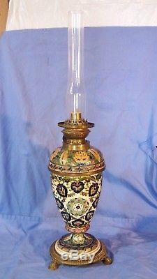 Antique ZSOLNAY PECS FISCHER J Budapest Porcelain Faience Oil Lamp with Rakenius
