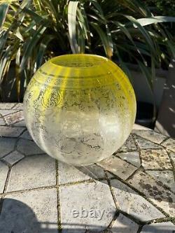 Antique acid etched citrus yellow oil lamp shade