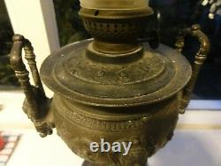 Antique brass banquet parlour classical stile oil lamp German Kosmos Brenner