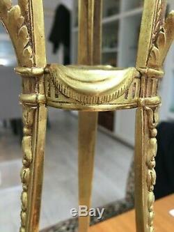 Antique brass large ornate empire ormolu oil lamp Hinks, cobalt blue fount