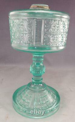 Antique c1880 OilKerosene Lamp3 Panelled 2 Panel DesignVaseline GlassEAPG