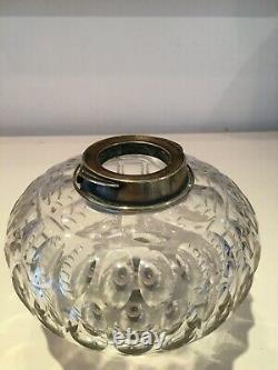 Antique coin dot baccarat cut glass oil lamp font
