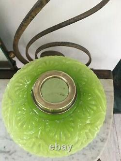 Antique cranberry embossed green glass oil lamp font