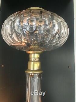 Antique cut glass face cut oil lamp
