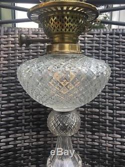 Antique fine facet cut glass oil lamp with Young Duplex Burner