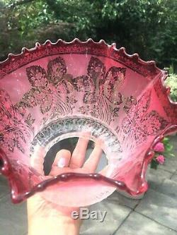 Antique frilly bobbly cranberry acid etched oil lamp shade wrythen