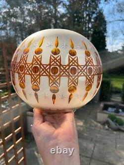 Antique frosted round oil lamp shade with amber cuts