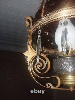 Antique hanging brass oil / kerosene parlor lamp