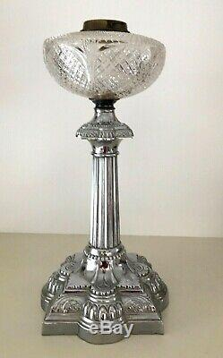 Antique heavy chrome rodium plated large oil lamp base supercut glass fount