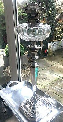 Antique huge silver plate oil lamp with baccarat cut glass fount Hinks burner