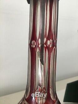 Antique large Czechoslovakia Bohemian Ruby cut glass oil lamp