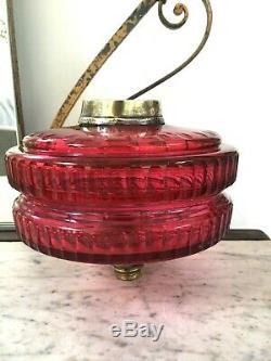 Antique large cranberry facet cut tiered oil lamp