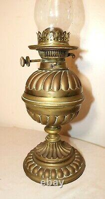 Antique ornate 1800's Hinks & Sons heavy gilt brass glass oil parlor table lamp