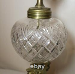 Antique ornate brass cut crystal onyx stone electrified oil table parlor lamp