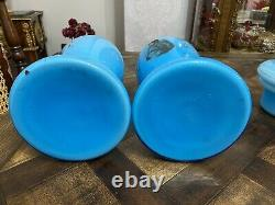 Antique rare Pair of french Persian European blue opaline glass oil lamps