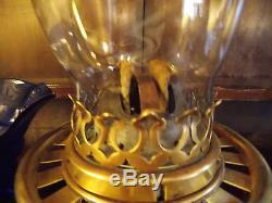 Antique rise & fall desk OIL LAMP student brass glass blue shade Wright & Butler