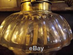 Antique rise & fall desk OIL LAMP student brass glass blue shade Wright & Butler