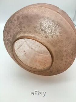 Antique round peach star cut engraved oil lamp shade