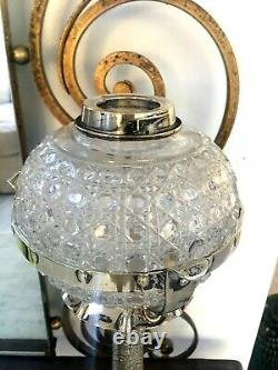 Antique silver plate oil lamp with hobnail drop in font and Hinks duplex burner