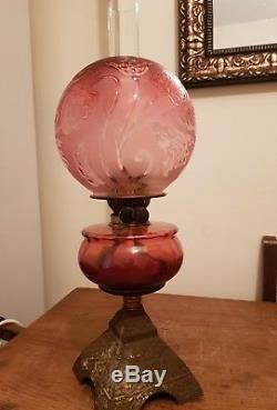 Antique victorian cranberry glass oil lamp