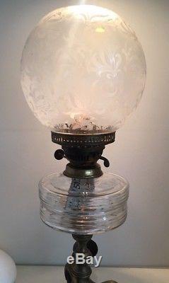 Antique victorian round globe foliate acid etched oil lamp shade