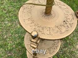 Antique vintage Victorian Piano Banquet Shelf table Floor Oil Lamp burner