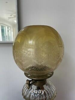 Antique yellow oil lamp shade round, acid etched
