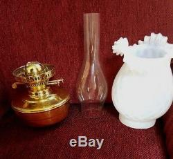 Arts and Crafts Victorian telescopic oil standard lamp, vaseline glass shade