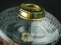 BEAUTIFUL CLEAR FACET CUT GLASS OIL LAMP FONT BAYONET FIT, 23mm HINKS UNDERMOUNT