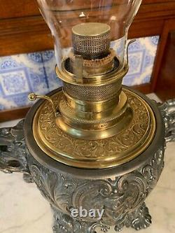 BRISTOL BRASS NEO-CLASSICAL VICTORIAN OIL KEROSENE LAMP WithREMOVABLE POT