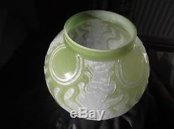 Baccarat Art Nouveau pate de verre glass Oil Lamp Shade. Rare Bespoke item