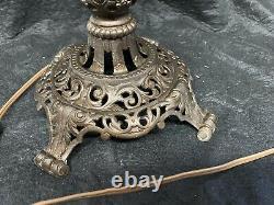 Banquet Lamp Alabaster Cast Iron Base Brass Font Oil Converted Victorian