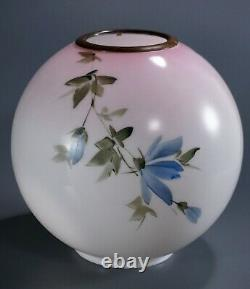 Banquet Lamp Globe Oil Kerosene Gone with the Wind Pink Shade Antique Victorian