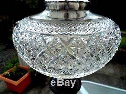 Beautiful Clear Cut Glass French Lady Statue Oil Lamp