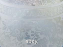 Beautiful Victorian Deep Etched Floral Glass Oil Lamp Globe / Shade, 4 fitter