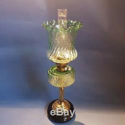 Beautiful Victorian Twin Duplex Oil Lamp Emerald Green Tulip Shade