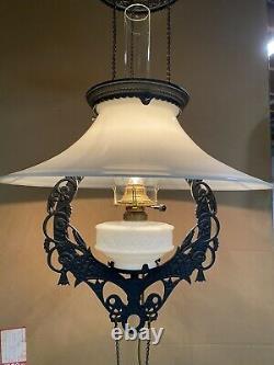 Beautiful Vintage Adjustable Milk Glass Hanging oil lamp electrified Lg shade
